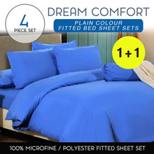 1+1 760-TC Plain and Pure Color Fitted Bed Sheet in Set 100% Micro-fine Smooth and Silky-soft
