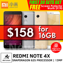 [$158 Nett] Flagship Redmi Note 4X Snapdragon625 2.5D 5.5inch 3GB/4GB+32GB/64GB Dual SIM. Best Deals