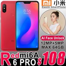 Authentic Xiaomi Smart Mobile Phone Android Redmi 6 PRO Redmi 6A AI Face Unlock Fingerpint 4G LTE