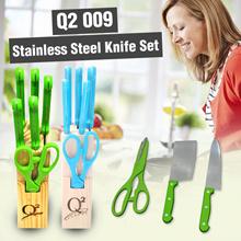 Q2 009 Pisau Dapur 1 Set  Warna Hijau dan Biru