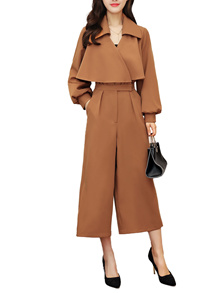 Women s Jumpsuits Turn Down Collar Long Sleeve Solid Cropped OL Jumpsuits