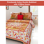 FrionKandy 100% Cotton Printed 120 TC Double Bed Sheet With 2 Pillow Covers - (82 Inch X 92 Inch, Br