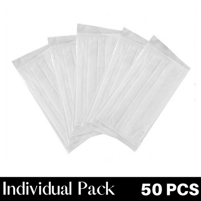 Adult White 50PCS Individual Pack with BOX