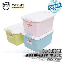 [BUNDLE OF 3] Sugar Storage Container 31L ~ Sweet pastel colors