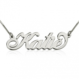Customised Carrie Font Solid 925 Sterling SIlver Name Necklace