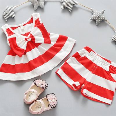 92b1578e3cef Nice kids designer brand kids Toddler Kids Baby Girls Summer Outfits  Clothes Dress+Short 2PCS