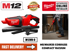 Milwaukee M12HV-0 Cordless Compact Vacuum Cleaner c/w 2 sets 3.0AH Batteries charger and bag