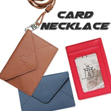 ★SPECIAL DEAL PRICE★ID Card Holder Leather Card Wallet Card Holder Leather Card Holder Lanyard Real Cowhide Card Holder ID Card Holder neckstrap ID Card Wallet Necklace Business Card money clip
