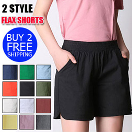 Buy 2 free shipping、Flax shorts、 Casual broad-legged pants、Soft、Cool and Breathable
