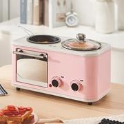 Electric 3-in-1 home breakfast/mini-bread maker/oven omelette/frying pan/hot pot boiler/food steamer