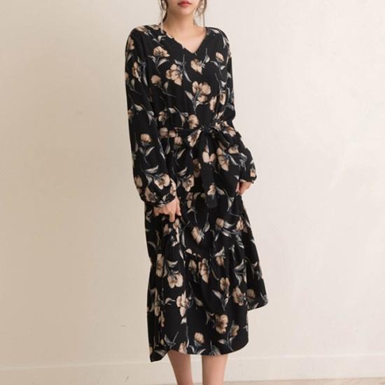 オーサムロディのフラワーロングワンピース232532 綿ワンピース/ 韓国ファッション