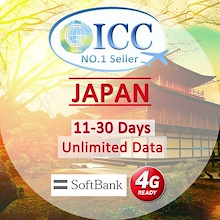 ◆ ICC◆【Japan Sim Card· 11-30 Days】❤4GLTE Data+Unlimited Data❤Plug and Use