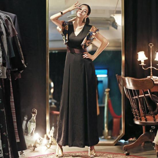 ディントゥD3362アムールジャカドゥフリルマキシのワンピース 綿ワンピース/ 韓国ファッション