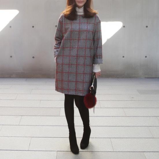 ポンジェイチェック一チェイル毛織ワンピース2color 綿ワンピース/ 韓国ファッション