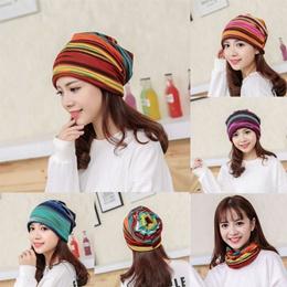 Women Stripe Hat Ruffle Cancer Hat Beanie Scarf  Collar Turban Head Wrap Cap