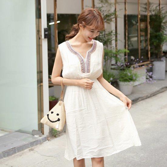 クルリクエンミヘイジュホワンピース 塔/袖なしのワンピース/ 韓国ファッション