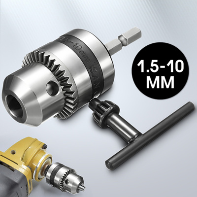 "1-10mm Drill Chuck Driver Converter 3//8/"" 24UNF With 1//4/"" Hex Shank Key Adaptor"