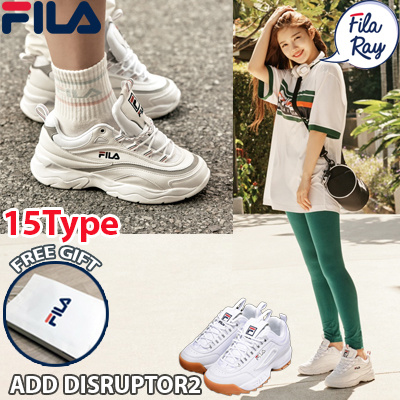 FILA[FILA] [Free Gift] ♥100% Authentic♥ FILA RAY Couple Shoes / Sneakers  /DISRUPTOR 2