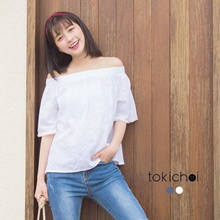 TOKICHOI - Off Shoulder Top with Frayed Hem-170077