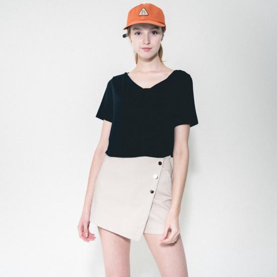 渓谷をボタンディテールキュロッ・パンツ964370 シフォン/レース/フリル/ 韓国ファッション