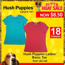 HUSH PUPPIES LADIES BASIC TEE |COTTON SINGLE JERSEY| #HLT856763MULTI/HLT856762