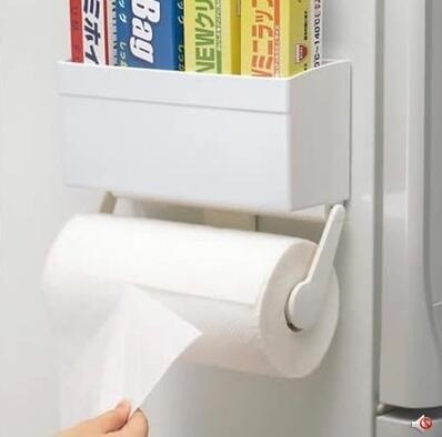 Kitchen Paper Towel Rack Roll Paper Holder Refrigerator Side Hanging  Plastic Film Roll Holder