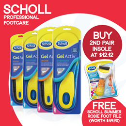 [RB]【12.12 Special - 2nd pair at $12.12 + FREE Foot file worth $49.90】 Scholl GelActiv® INSOLES