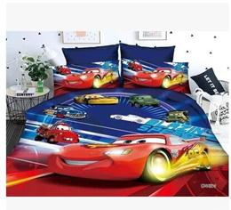 Sanding 3D Lightning McQueen Three-piece Bedding Cartoon Childrens Car Story Three-piece Quilt Cove