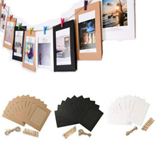 10x 6inch Hanging Album Clip Kraft Paper Photo Frame for Wedding Decor Garland