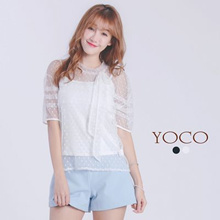 YOCO - Two Pieces Dot Mesh Blouse and Cami Top-6018404-Winter