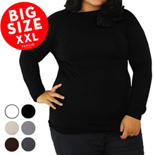 BIG SIZE XXL Manset Turtle Neck Low Neck Long Sleeves Jumbo / Kaos Lengan Panjang / Long Sleeves