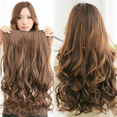 052923a0d clip in hair extensions Curly wig Big wave Light Brown wigs hair highlight  sexy hairpiece(