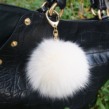 ♥ Version! Fuwa Fuwa Pompon ☆ Fox Fur Strap ♥ Fox 'Hair ♥ Handbag ♥ handbag ♥ Crystal Tassel Bag Key Ring Hanger ♥' s Suede Tassel ♥ lovely h