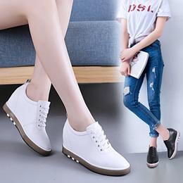 内增高女鞋小白鞋女2019春季新款显瘦女士旅游休闲鞋真皮厚底百搭