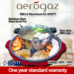 Aerogaz Steamboat with Non-Stick BBQ Pan and Stainless Steel Pot (AZ-3036TP)