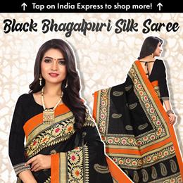 SVB Black Colour Bhagalpuri Silk Saree