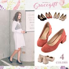 [Free Gift!!] Gracegift-Classic Chamois Cubic Bold Heels/Women/Ladies/Girls Shoes/Taiwan Fashion