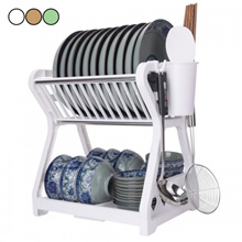 Multipurpose 2 Tier Layer High Quality Plastic Dish Rack Bowl Chopsticks Fork And Spoon Drainer Drye