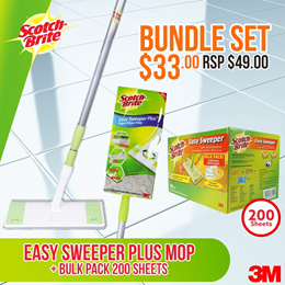 [Official E-Store]Scotch-Brite Easy Sweeper Dry Wiper Bulk Pack (200 sheets)+TW Easy Sweeper FOC