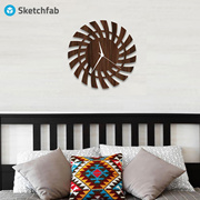 Sketchfab D143 Wall Clock Without Glass Decorative Wooden Non Ticking Silent -14 Inch Easy to Read H