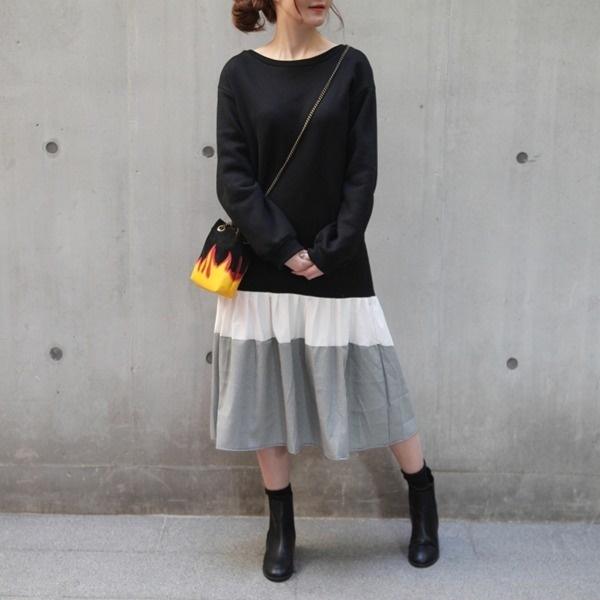 配色チェックフリル起毛ワンピース2colornew フレアワンピース/ワンピース/韓国ファッション