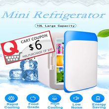 10L Mini Fridge Electric Cooler and Warmer Portable Refrigerator for Car Home Kichen Junket Travel