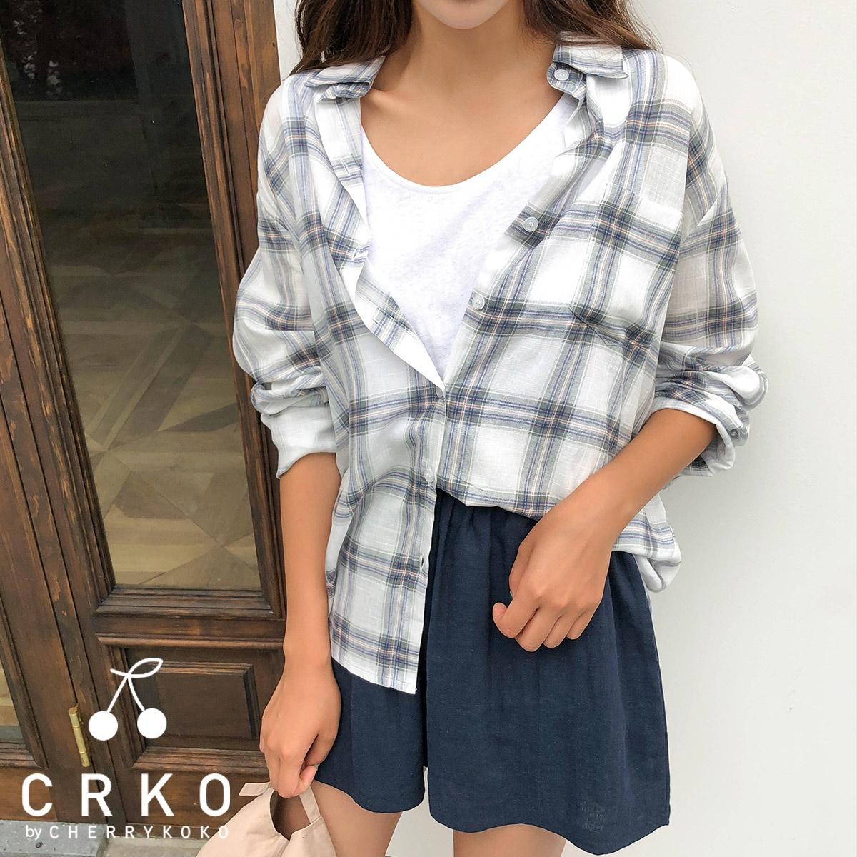 [CHERRYKOKO官方旗艦店] 格紋長袖襯衫 / safari blouse