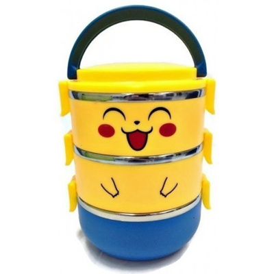 3e16e273653d 3 Layers Stainless Steel Pikachu Lunch Box