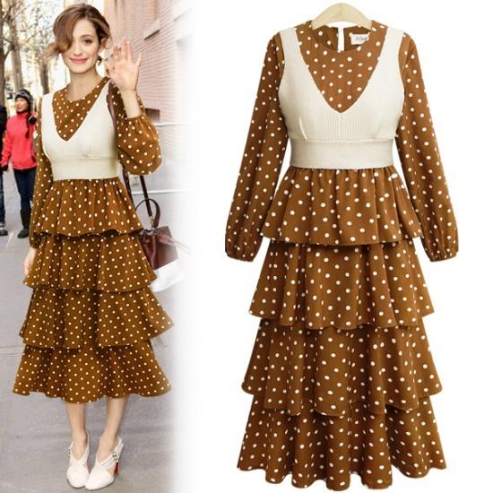 アデンOP1924ビュスチェSETロンティス・ドットカンカンワンピース 綿ワンピース/ 韓国ファッション