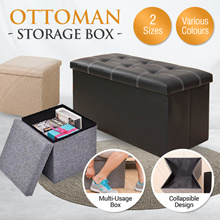 Ottoman Storage Box / Fabric and PU Leather Series /Sofa Seat Stool Organizer Bench Home Living