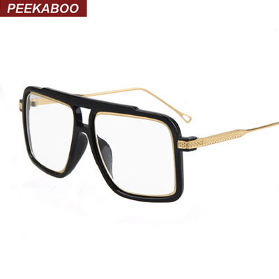 Qoo10 - Peekaboo Big square luxury eye glasses frames for men black ...