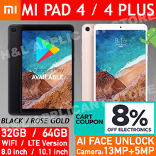 8% COUPON❤Xiaomi Mi Pad 4 / Plus 8.0 / 10.1 inch Android Tablet WIFI / 4G LTE 13MP AI Face Unlock