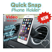 Quick Snap Car Mount Holder / World Smallest Portable Car Mount / Car holder /  Build for iphone Samsung S3 S4 S5 / XiaoMi / HTC / Best Travel Tools