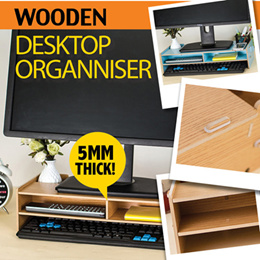 ♛EXTRA THICK♛ WOODEN DESKTOP ORGANISER Stand► Computer ★ Desk drawers ★ Office ★ Study ★ Riser